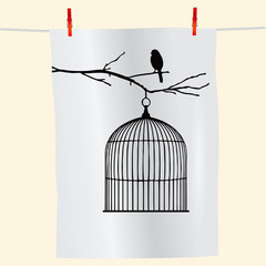 Recess Fitting Birds in cages Bird on a branch and birdcage