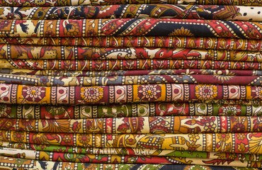 Block printed fabrics on display at a local market in India