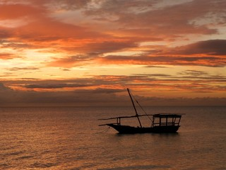 dhow during sunset