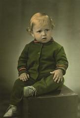 Vintage photo of a litle boy, circa 1970.