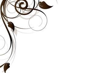 Ornamental floral element with swirls