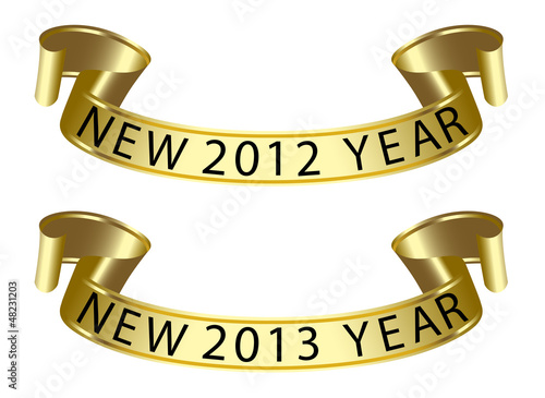 gold ribbon with new year label 2011 2012