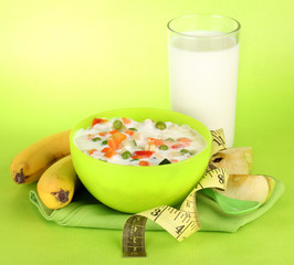 tasty dieting food, fruits and glass of milk,
