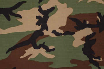US military woodland camouflage fabric texture background
