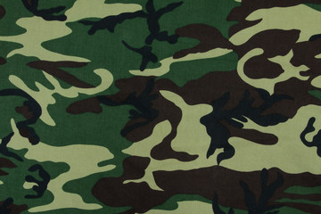 Thai army green woodland camouflage fabric texture background