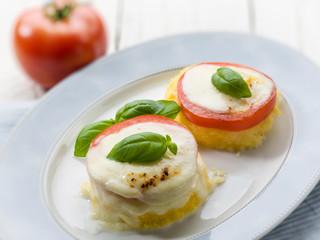 mozzarella tomatoes and porridge, selective focus