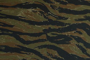 Thai police green tigerstripe camouflage fabric texture backgrou