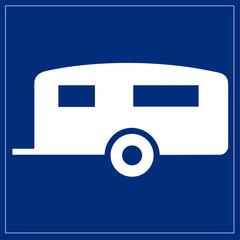 Fototapete - Schild blau - Wohnwagen