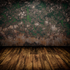 Grunge industrial interior with wooden floor and old damaged wal