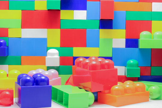 A wall of large blocks of Lego
