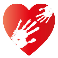 High resolution conceptual red heart mother and child human hand