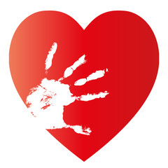 High resolution conceptual human hand print with heart