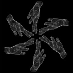 High resolution conceptual human hand circle made of wireframe
