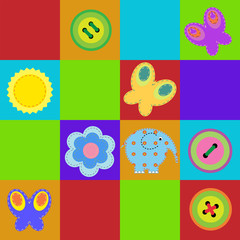 Children seamless colorful rug