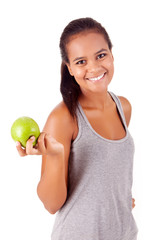 Beautiful african woman holding an apple - Healthy Life