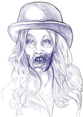 Portrait of an undead (zombie hairy girl) , hand drawing