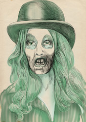 Portrait of an undead (zombie, scary clown ...) , hand drawing