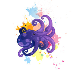 Vector Illustration of a Comic Octopus