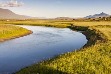 Icelandic river in background  varmahlio village.
