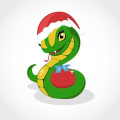 Chrismas snake. Symbol of 2013 year. Vector.