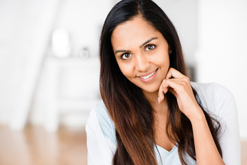 Beautiful Indian Woman Portrait Happy Smiling