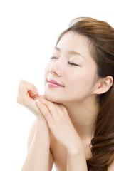 Beautiful asian woman on white background