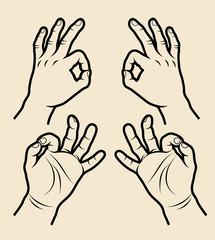Hand sign symbol 5, Okey, meditation.