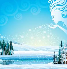 Vector magical winter landscape.
