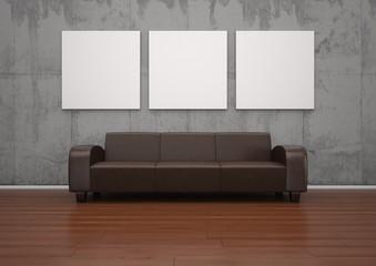 braunes Ledersofa mit 3 Wandbildern
