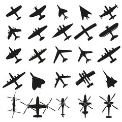 Collection of different airplane icons