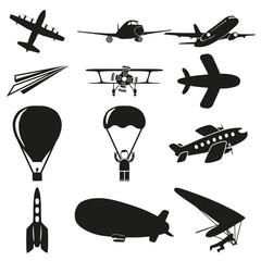 Set of black flying icons on white background