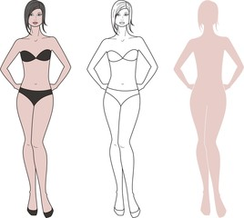 Vector illustration of woman's figure.Three options