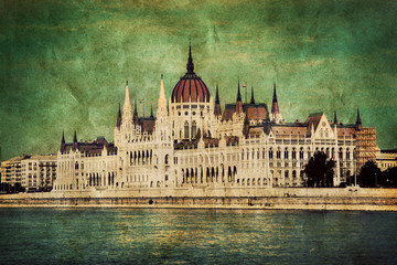 Wall Mural - Hungarian parliament in Budapest, Hungary. Retro