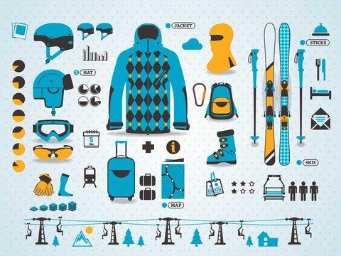 ski info graphics, vector symbols