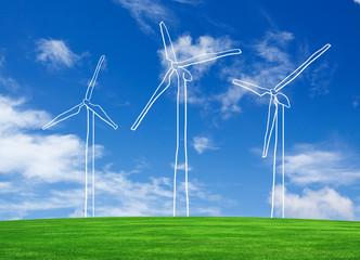 hand drawing wind turbine farm on grass field