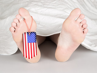 USA flag tag on the foot