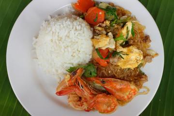 Shrimp fried rice vermicelli
