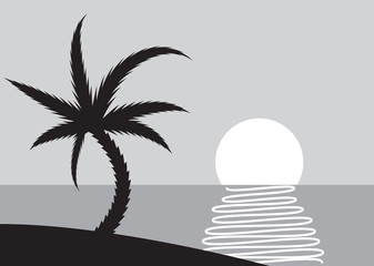 Palm beach scene with rising sun - illustration