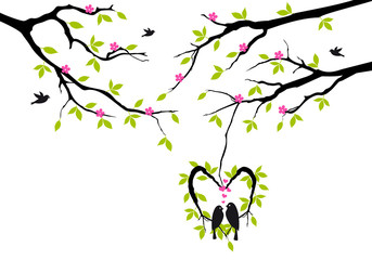 birds on spring tree in heart nest, vector