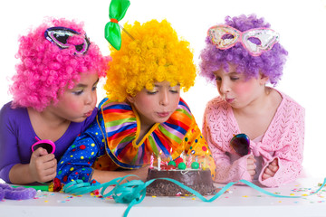 Children birthday party clown wigs blowing cake candles