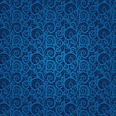 Blue vintage floral pattern on a dark background