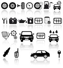 Vector black auto icons set. Car EPS 10