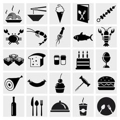 Vector black food icons set on gray