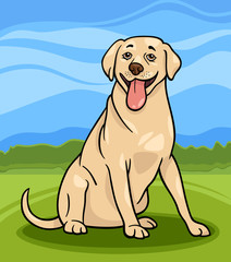 Garden Poster Dogs labrador retriever dog cartoon illustration