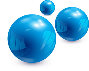 3 Shiny Blue Spheres