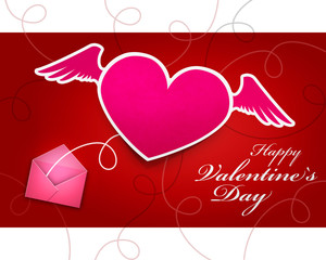 Valentines day gift card on red background