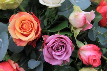 Multicolor rose arrangement