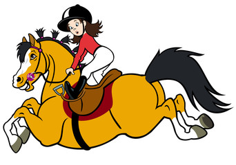 rider girl with happy pony