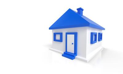 Das kleine blaue Haus vor weissem Hintergrund