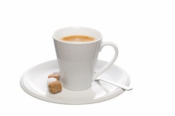 Breakfast coffee with white and brown sugar
